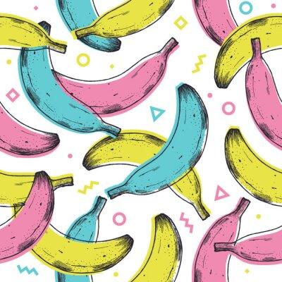 Nálepka Colored fun banana seamless pattern. 90s style background. Vector illustration