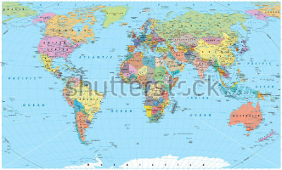 Nálepka Colored World Map - borders, countries, roads and cities. Detailed World Map vector illustration.