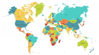 Nálepka Colored world map. Political maps, colourful world countries and country names. Geography politics map, world land atlas or planet cartography vector illustration
