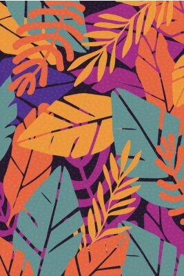 Nálepka Colorful leaves seamless pattern background vector illustration. Exotic plants, branches and leaves art print for beauty, fashion and natural products, spa and wellness, wedding and events poster