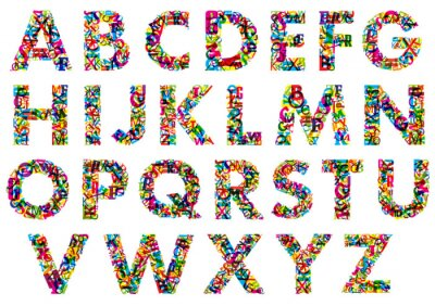 Nálepka Colorful upper case alphabet letters