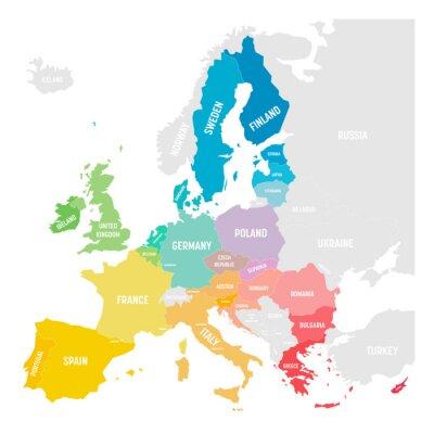 Nálepka Colorful vector map of EU, European Union, member states
