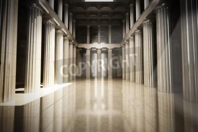 Nálepka Column interior empty room, law or government background concept, 3d model scene