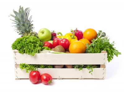 Nálepka Crate with fruits and vegetable