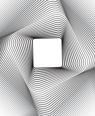 Nálepka čtverec optický výtvarné pozadí černá a bílá