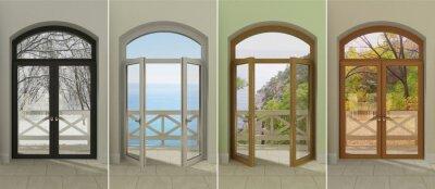 Nálepka Čtyři okna v různých obdobích roku. Čtyři vícebarevné okna s přístupem na různých ročních obdobích.