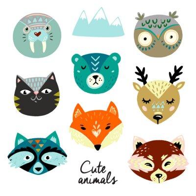 Nálepka Cute animals faces. Hand drawn baby design