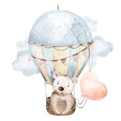 Nálepka Cute cartoon baby bear animal hand drawn watercolor bunny illustration with air balloon. kids nursery wear fashion design, baby shower invitation card.