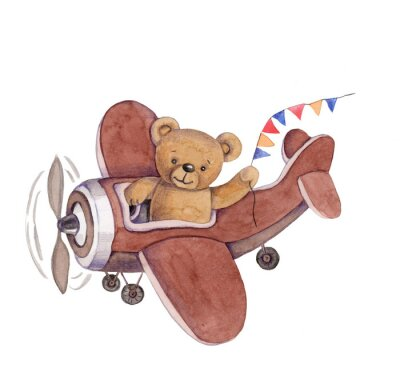 Nálepka Cute cartoon toy animal teddy bear in plane, watercolor illustration, hand draw, isolated on white.