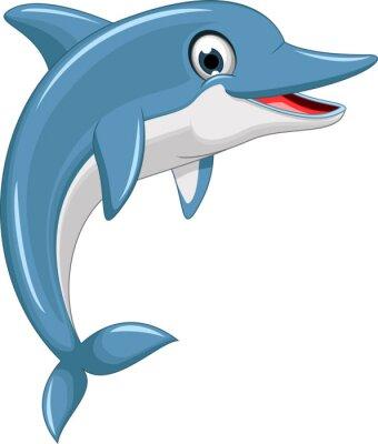 Nálepka cute dolphin cartoon jumping