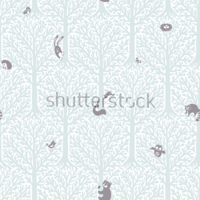 Nálepka Cute forest with animals and birds. Great decor and wallpaper for baby, kids and nursery room in Scandinavian style. Vector seamless pattern. Cute Nordic background with forest animals in the woods