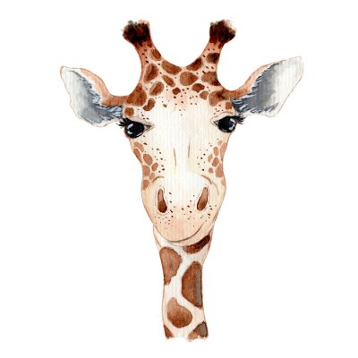 Nálepka Cute giraffe cartoon watercolor illustration animal