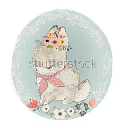 Nálepka Cute Hare with Floral Wreath