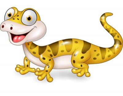 Nálepka Cute ještěrka představují samostatný na bílém pozadí