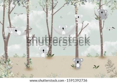 Nálepka Cute koalas playing in the jungle