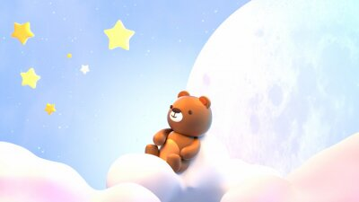 Nálepka Cute little bear sitting on soft pastel clouds and watching beautiful night sky with stars in front of the white full moon. 3d rendering picture.