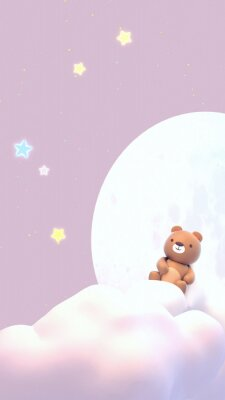 Nálepka Cute little bear watching beautiful night sky with stars in front of the white full moon. 3d rendering picture. (Vertical)