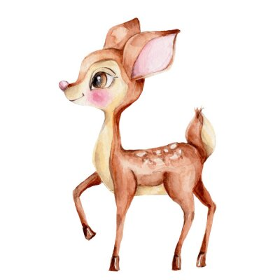 Nálepka Cute little deer; watercolor hand draw illustration; with white isolated background