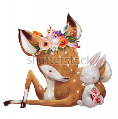 Nálepka cute little hare with little deer