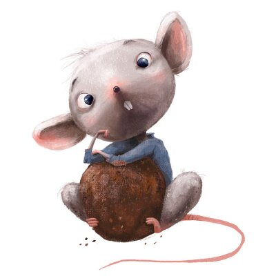 Nálepka cute little mouse with chocolate