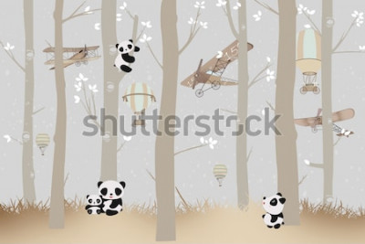 Nálepka cute pandas playing in the forest wallpaper