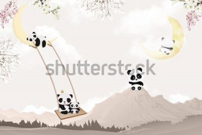 Nálepka cute pandas playing kids room wallpaper design