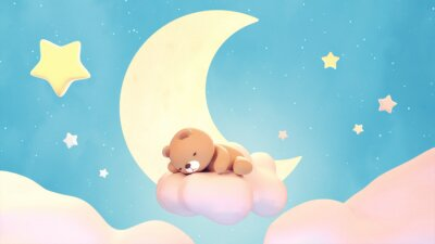 Nálepka Cute sleeping bear on lake green color background. Beautiful pastel pink clouds, yellow crescent moon, and stars. 3d rendering picture.