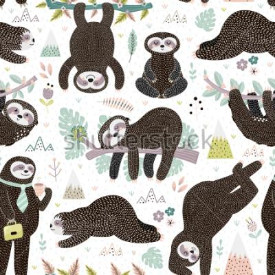Nálepka Cute sleeping sloths seamless pattern. Adorable animal background. Vector illustration
