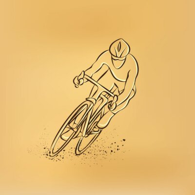 Nálepka Cyklistický závod. Čelní pohled. Vektor retro kreslení ilustrace.