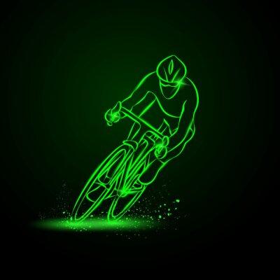 Nálepka Cyklistický závod. Čelní pohled. Vektorové ilustrace neon.
