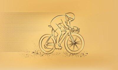 Nálepka Cyklistický závod. Vektor retro kreslení ilustrace.