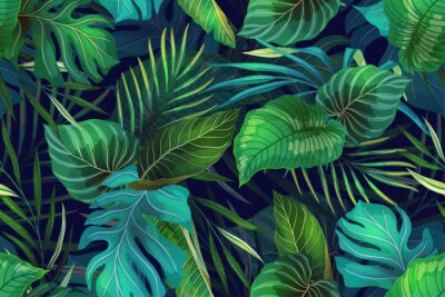 Nálepka Dark pattern with exotic leaves