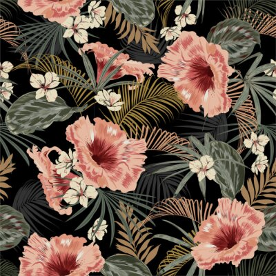 Nálepka Dark tropical forest at night seamless pattern wallpaper vintage mood leaves of palm trees and exotic of flowers design for fashion,fabric,web,wallpeper,and all prints