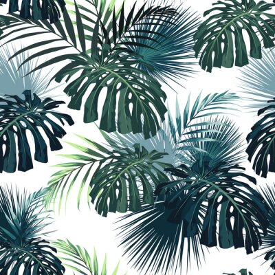 Nálepka Dark tropical leaves with jungle plants. Seamless tropical pattern with green palm and monstera leaves. White background.