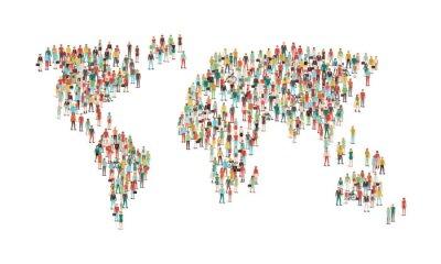 Nálepka Dav lidí tvořících mapy světa