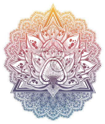 Nálepka Decorative blossoming lotus flower. Hand drawn element in ethnic oriental, Indian style.