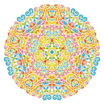 Nálepka Dekoratives Vektor Element - Buntes, Florales und Abstraktes Mandala Muster, izolovaných na bílém pozadí. Barevné abstraktní dekorativní vzor - Ozdobná Motif s prvky - Pozadí.