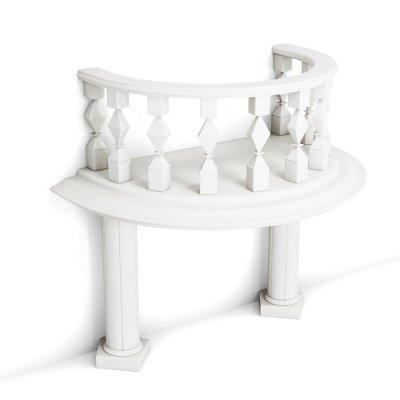 Nálepka Dekorativní balkon s sloupy na bílém pozadí. 3d rendering.