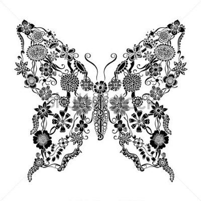 Nálepka Dekorativní ozdobený motýl květinových dudlíků, černobílý Květinové ozdobné prvky pro zápisník, pozvánky nebo pohlednice