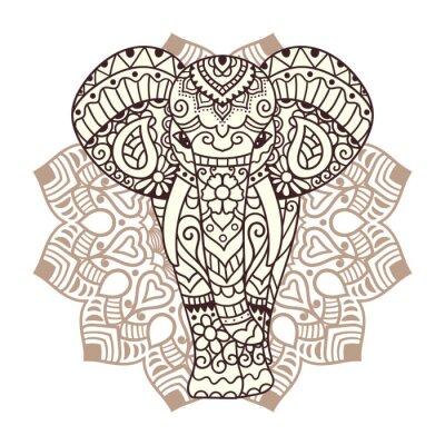 Nálepka Dekorativní slon ilustrační