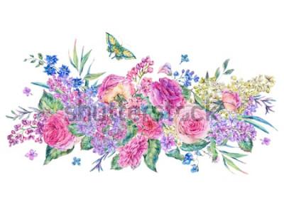 Nálepka Dekorativní vintage akvarel přání s růžovými růžemi a šeříky, květy, listy a poupata, botanické květinové ilustrace izolované na bílém pozadí
