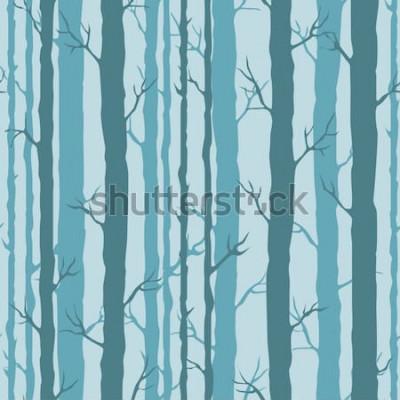 Nálepka Dekorativní vzor bezešvé s kmeny stromů. Nekonečná ozdoba s tmavě tyrkysovými stonky stromů na modrém pozadí. Stylové pozadí strom pro balení, tapety.