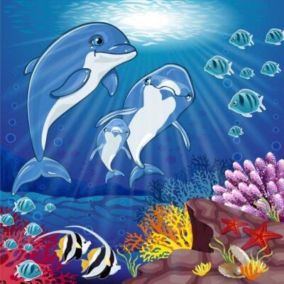 Nálepka Delfíni na dně moře