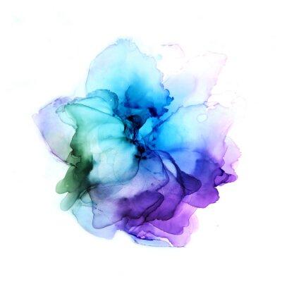 Nálepka Delicate hand drawn watercolor flower in blue and violet tones. Alcohol ink art. Raster illustration.