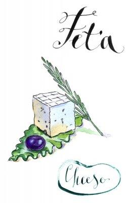 Nálepka Delicious plátky řecký feta sýr s olivovým, rozmarýnem a Sala