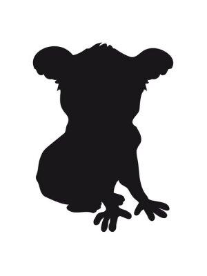 Nálepka Design koala černá silueta v pohodě komické posezení obrys stín