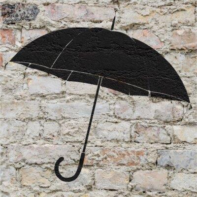 Nálepka Dessin d'un Parapluie sur un mur