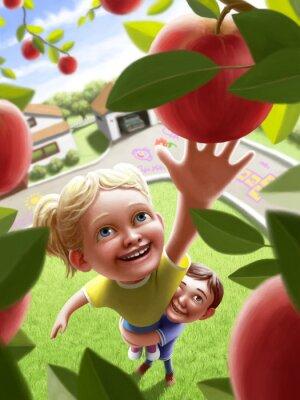 Nálepka Děti dosáhl na jablko