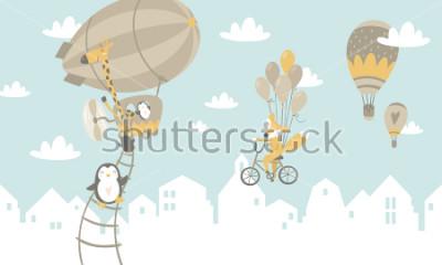 Nálepka Děti grafické ilustrace. Použití pro tisk na zeď, polštáře, dekorace pro děti, dětské oblečení a košile, přání, vektor a další