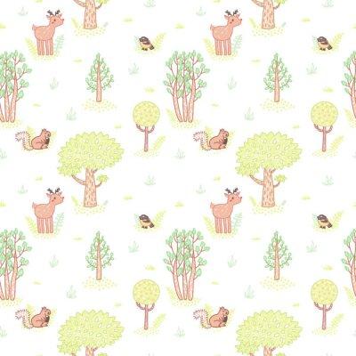 Nálepka Děti styl kreslení roztomilý doodle stromy vektorové bezešvé vzor.